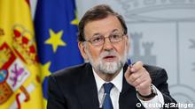 Spain's Prime Minister Mariano Rajoy gestures during a news conference at the Moncloa Palace in Madrid, Spain, May 25, 2018. REUTERS/Stringer. NO RESALES. NO ARCHIVES.