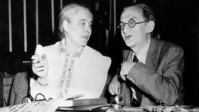 Anna Seghers with Hungarian delegate Georg Lukacs at the World Peace Conference in Paris 1949