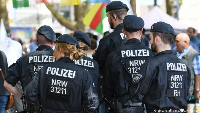 Police in North Rhine-Westphalia patrol the streets during a Kurdish demonstration in Cologne