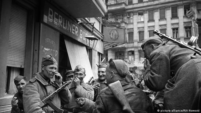 Archival footage shows Red Army soldiers on the streets during the Battle of Berlin