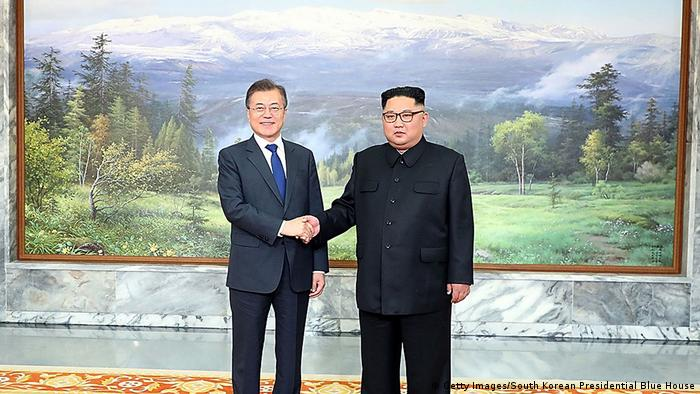 President Moon Jae-in and Kim Jong Un prior to meeting on Saturday