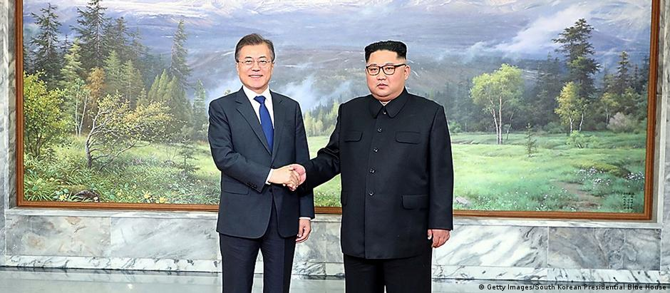 President Moon Jae-in and Kim Jong Un prior to meeting on Saturday (Getty Images/South Korean Presidential Blue House)