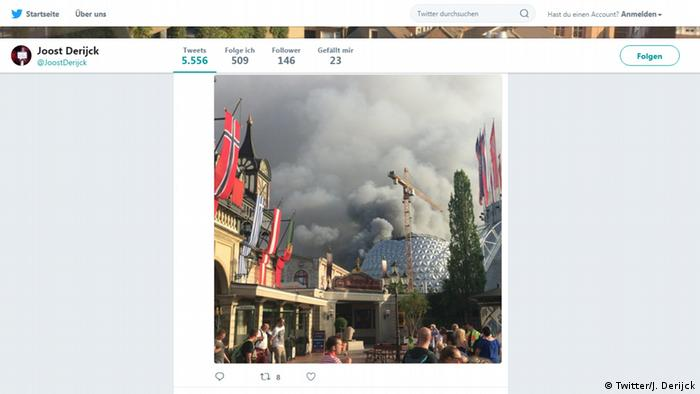 Germany, Rus t: Brand in Europa Park, screenshot Twitter (J.-J. Derijck)