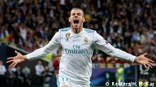 26.05.2018, Ukraine KievSoccer Football - Champions League Final - Real Madrid v Liverpool - NSC Olympic Stadium, Kiev, Ukraine - May 26, 2018 Real Madrid's Gareth Bale celebrates scoring their second goal REUTERS/Hannah McKay