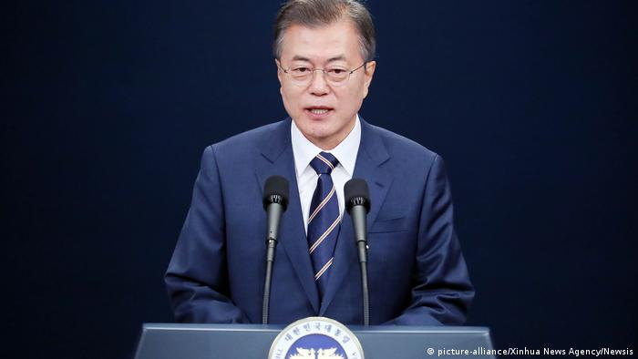 President Moon Jae-in speaking to reporters on Sunday