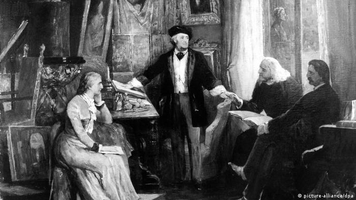 Рихард Вагнер, жена Козима, тесть Франц Лист и воспитатель Генрих фон Штайн на вилле Ванфрид в Байройте (Вильям Бекманн, 1882 год)