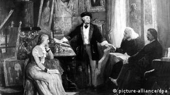 Painting of Richard Wagner with his wife Cosima, Franz Liszt and Heinrich von Stein