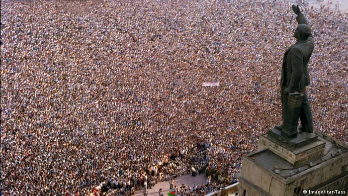 Aserbaidschan Baku 1989 - Versammlung auf Lenin-Platz