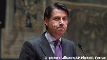 Premier-designate Giuseppe Conte addresses the media after a round of consultations to form a Cabinet