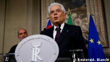 Italy, May 27, 2018 Italian President Sergio Mattarella speaks to media after a meeting with Italy's Prime Minister-designate Giuseppe Conte at the Quirinal Palace in Rome, Italy, May 27, 2018. REUTERS/Alessandro Bianchi