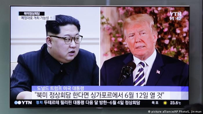 A photo composite of the North Korean and US leaders shown in South Korea