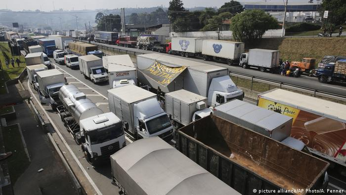 Trucks block a road in Brazil's ongoing truckers' protest