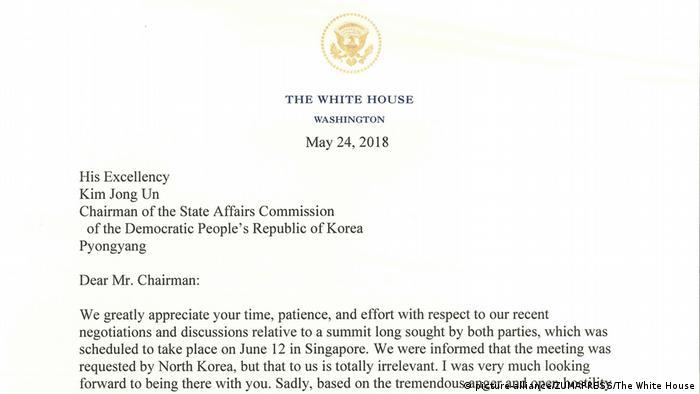 Копия письма Трампа, адресованного Ким Чен Ыну