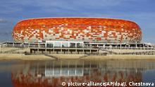 ARCHIV - 17.05.2018, Russland, Saransk. Ein Blick auf die Mordowia-Arena. In der Arena sollen Spiele der FIFA-Fußball-Weltmeisterschaft 2018 stattfinden. (zu dpa-Themenpaket zur Fußball-Weltmeisterschaft 2018 in Russland vom 22.05.2018) Foto: Julia Chestnova/AP +++(c) dpa - Bildfunk+++  
