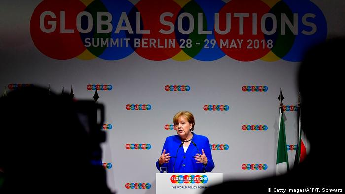 German Chancellor Angela Merkel at the Global Solutions Summit 2018 in Berlin (Getty Images/AFP/T. Schwarz)