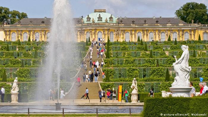 Sanssouci Palalce with terraced gardens and fountain