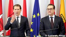 Austrian Chancellor Sebastian Kurz and Vice Chancellor Heinz-Christian Strache attend a news conference during the second day of a cabinet meeting in Mauerbach, Austria, May 28, 2018. REUTERS/Lisi Niesner