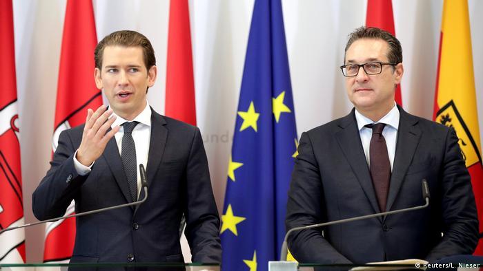 Chancellor Kurz and far-right Vice-Chancellor Strache speak