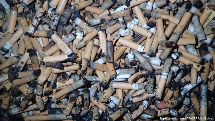 Dozens of cigarettes butts