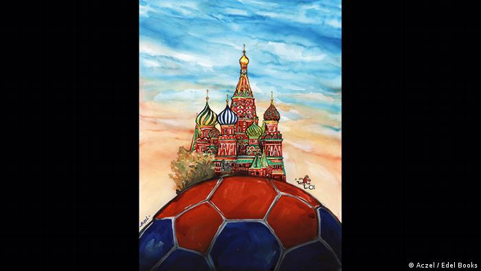 A caricature with a soccer ball and the famous Basil's Cathedral.