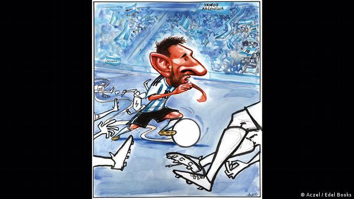 Lionel Messi kickt Fußball.