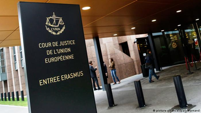 A French-language sign at the entrance to the European Court of Justice
