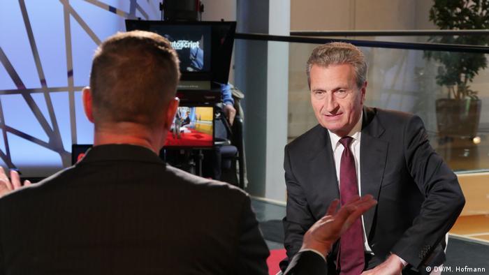Από τη συνέντευξη Έτινγκερ στην τηλεόραση της DW