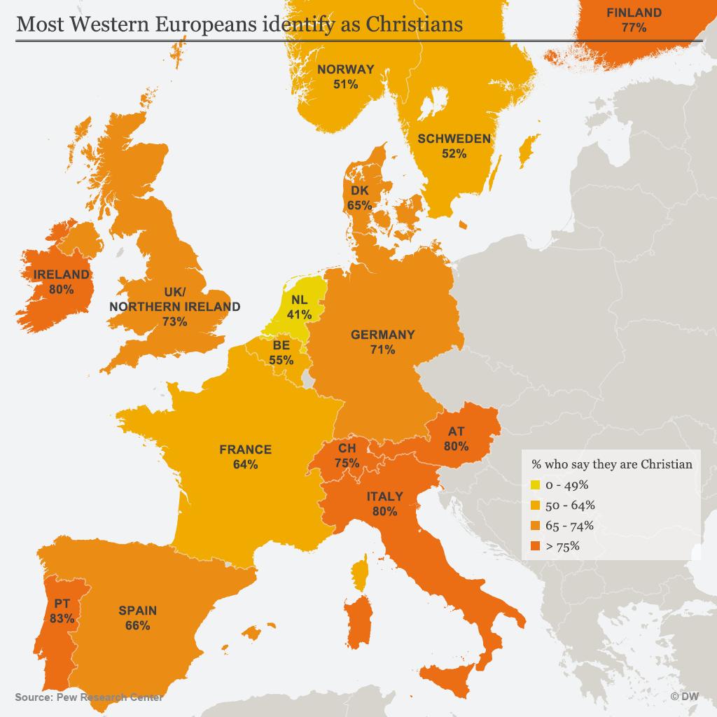Infografik Karte Wie viele Westeuropäer bezeichnen sich als Christen? DE