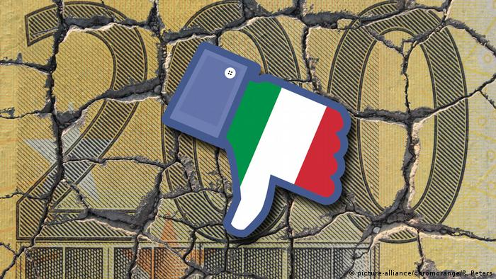 Facebook dislike with Italy flag in front of 200 euro note