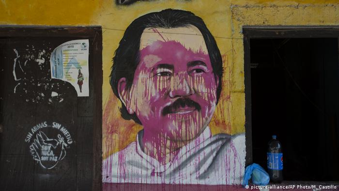 A mural of Nicaraguan President Daniel Ortega defaced with red paint