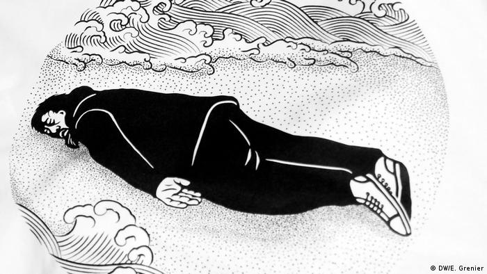 A sketch of Ai Weiwei washed ashore on the beach