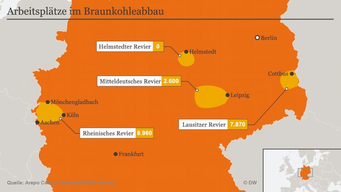 Infografik Arbeitsplätze im Braunkohleabbau DE