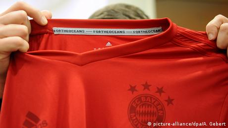A Bayern Munich top made from recycled plastic waste