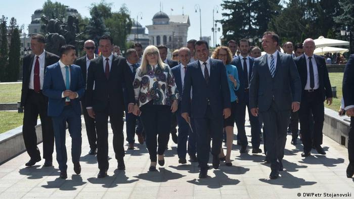 Mazedonien Pressekonferenz der Regierung (DW/Petr Stojanovski)
