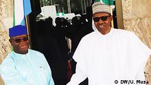 President Muhammadu Buhari of Nigeria mit Sierra Leonean president Julius Maada Bio in Abuja (c) DW/Ubale Musa