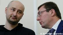 Ukraine Journalist Arkadi Babtschenko PK in Kiew | mit Yuriy Lutsenko
