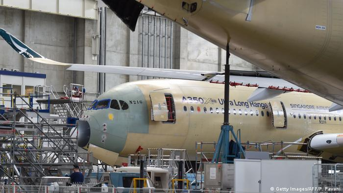 An Airbus A350 Ultra Long Range being built for Singapore Airlines in France