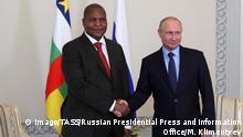 Russland St. Petersburg Treffen Präsident Zentralafrikanische Republik und Vladimir Putin