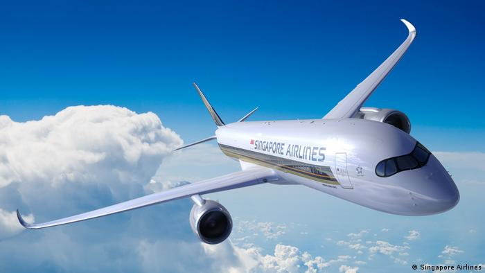 Singapore Airlines plane in mid-air