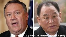 U.S-N. Korea high level talks This combined file photo shows U.S. Secretary of State Mike Pompeo (L) and Kim Yong-chol, vice chairman of the central commmittee of North Korea's ruling Workers' Party. Kim arrived in Beijing on May 29, 2018, apparently en route to the United States to hold preparatory talks over a possible summit between the leaders of the two countries on June 12. (Yonhap)/2018-05-29 18:07:39/   Keine Weitergabe an Wiederverkäufer.