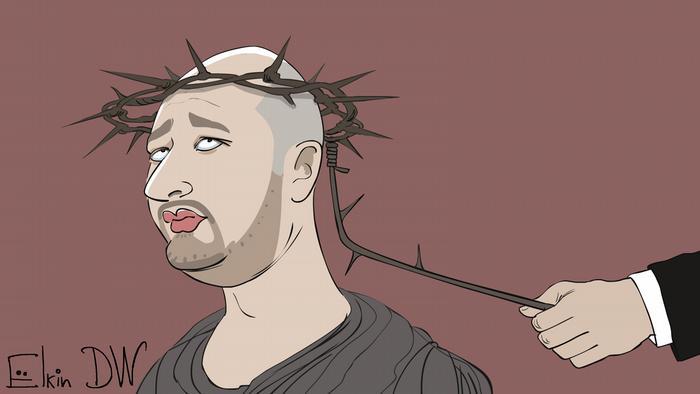 Карикатура Сергея Елкина на тему фейкового убийства Аркадия Бабченко
