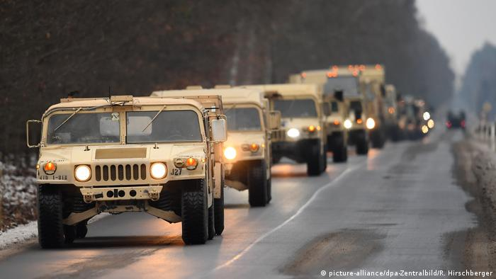 US military vehicles in Germany convoying to Poland