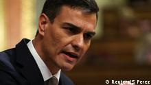 31.05.2018+++Madrid, Spanien+++ Spain's Socialist (PSOE) leader Pedro Sanchez gestures during a motion of no confidence debate at Parliament in Madrid, Spain, May 31, 2018. REUTERS/Sergio Perez