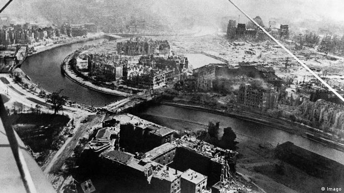Aerial photo showing destruction in Berlin in 1945