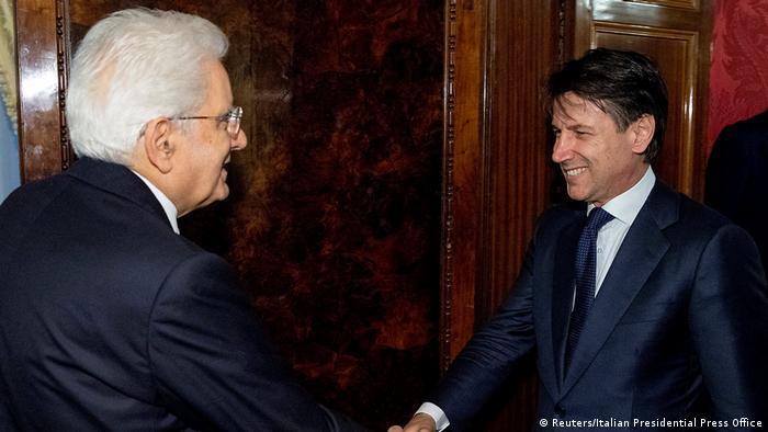 Президент Италии Серджо Маттарелла и возможный новый премьер-министр Джузеппе Конте