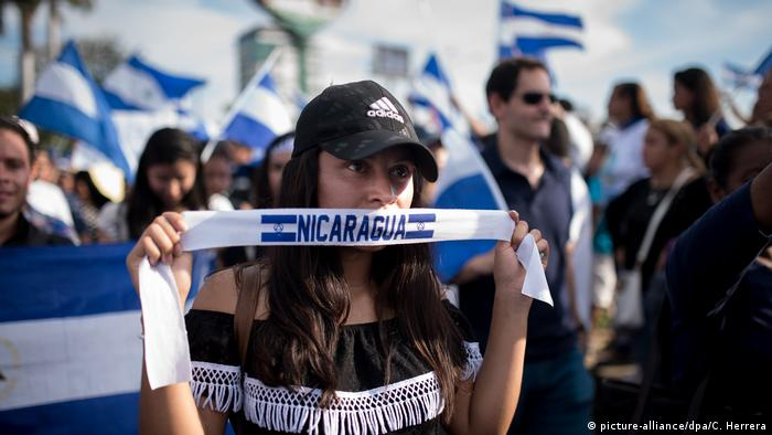 A female protesters in Nicaragua during Mother's Day demonstrations