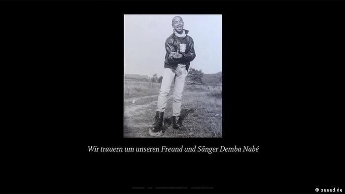 Screenshot of a young man (Demba Nabé) with a caption mourning his death (seeed.de)