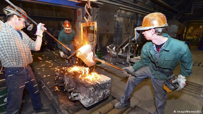 A skilled worker in a foundry