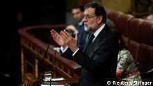 Spain's Prime Minister Mariano Rajoy addresses Parliament on the final day of a motion of no confidence debate in Madrid, Spain, June 1, 2018. REUTERS/Stringer