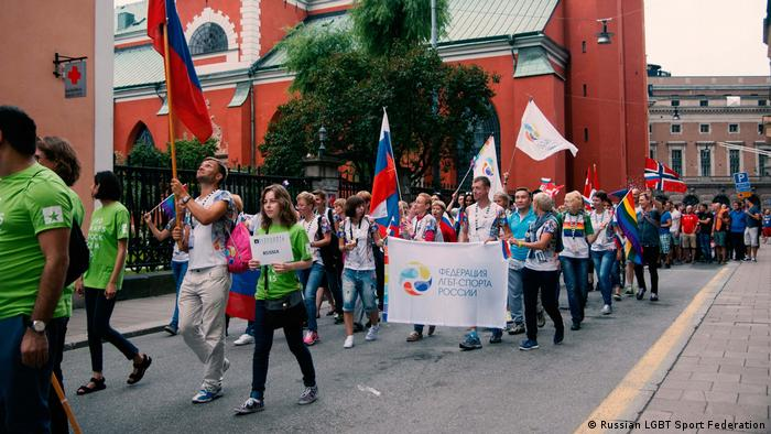 An athlete demonstration in Stockholm (Russian LGBT Sport Federation)
